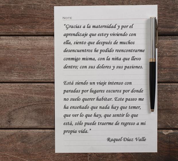 Carta de gratitud de Raquel Díaz
